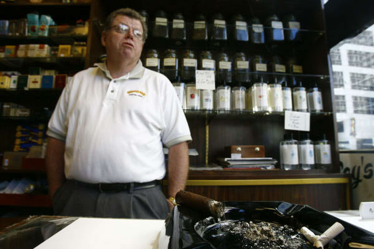 Michael McCoy, who owns McCoy's Fine Cigars downtown, said he hopes his lounge would be exempt from a proposed citywide smoking plan in workplaces.