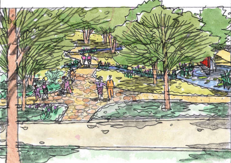 The winning design features zoysia berms, winding walkways and water features.  Plans and sketches courtesy Asakura Robinson Co. Photo: Asakura Robinson Co.