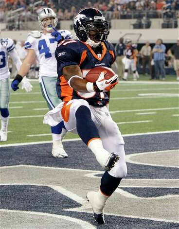 Denver Broncos running back Jeremiah Johnson scores a 13-yard touchdown against the Dallas Cowboys during the fourth quarter of a preseason NFL football game on Thursday, Aug. 11, 2011, in Arlington, Texas. (AP Photo/Tony Gutierrez) Photo: Tony Gutierrez, Associated Press / AP