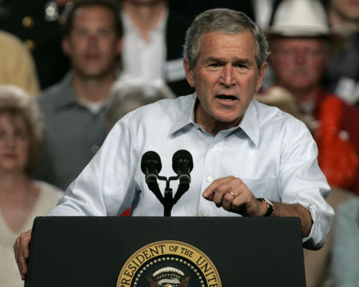 """President Bush said his Republican Party had received """"a thumping"""" at the polls."""