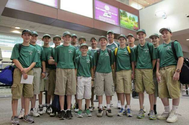 The Clifton Park Knights gather at the Albany International airport on Thursday, Aug. 11, 2011 to play in the Cal Ripken World Series in Aberdeen, MD. (Erin Colligan / Special To The Times Union)