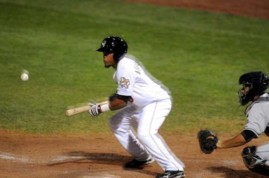 ValleyCats Miguel Arrendell (8) bunts the ball during their baseball game against Mahoning Valley Scrappers on Thursday, Aug. 11, 2011, at Joseph L. Bruno Stadium in Troy, N.Y. (Cindy Schultz / Times Union) Photo: Cindy Schultz