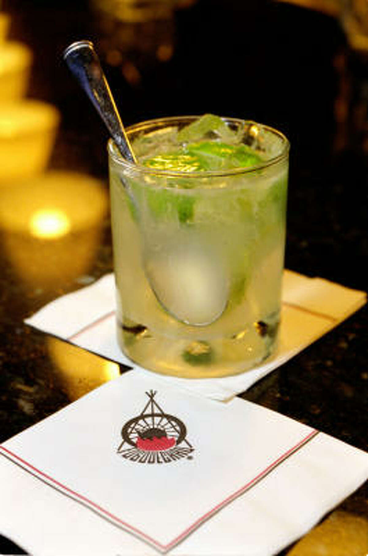The Brazilian national drink caipirinha is the beverage of choice at Fogo de Chao.