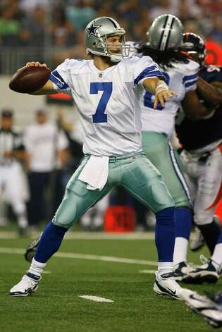 Dallas Cowboys quarterback Stephen McGee (7) throws a pass during their pre-season football game against the Denver Broncos Thursday August 11, 2011 at the Cowboys Stadium in Arlington, Texas.  The Cowboys won 24-23.  SALLY FINNERAN/sfinneran@express-news.net Photo: SALLY FINNERAN, -- / © SAN ANTONIO EXPRESS-NEWS