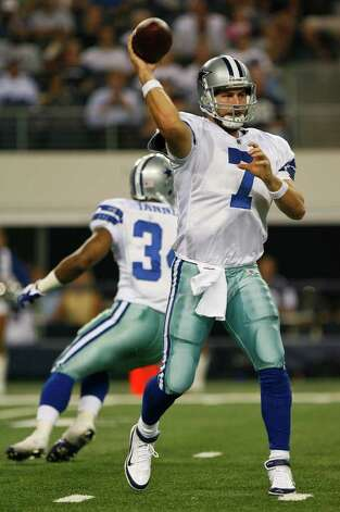 Dallas Cowboys quarterback Stephen McGee (7) throws a pass during the second half of the Cowboys pre-season football game Thursday August 11, 2011 at the Cowboys Stadium in Arlington, Texas.  The Cowboys won 24-23.  SALLY FINNERAN/sfinneran@express-news.net Photo: SALLY FINNERAN, -- / © SAN ANTONIO EXPRESS-NEWS