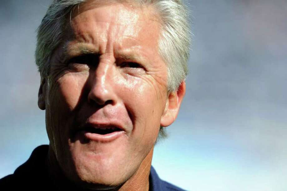 Head coach Pete Carroll of the Seattle Seahawks looks on before the NFL preseason game at Qualcomm Stadium against the San Diego Chargers on August 11, 2011 in San Diego, California. Photo: Kevork Djansezian, Getty Images / 2011 Getty Images