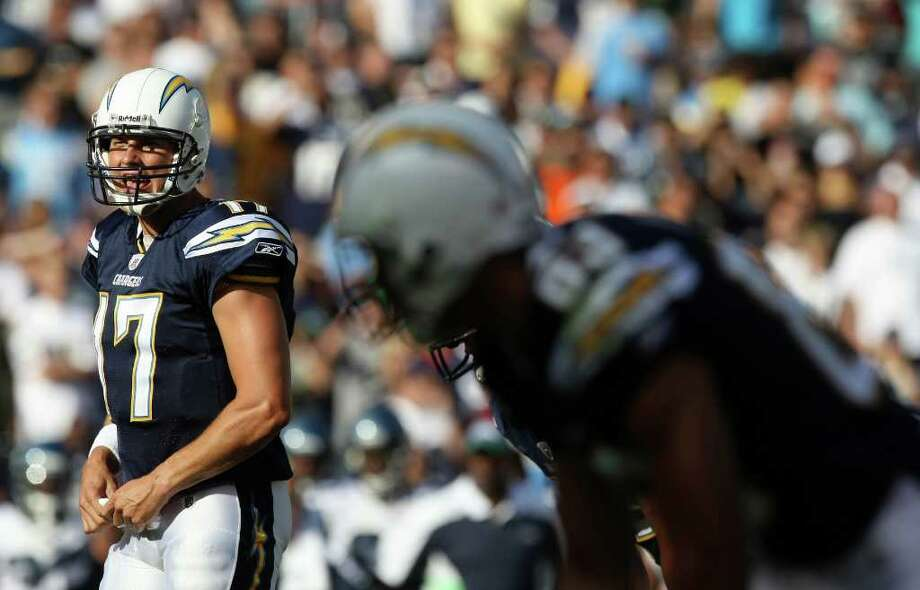 Quarterback Philip Rivers #17 of the San Diego Chargers calls plays at the line of scrimmage against the Seattle Seahawks during their  NFL preseason game on August 11, 2011 at Qualcomm Stadium in San Diego, California. Photo: Donald Miralle, Getty Images / 2011 Getty Images