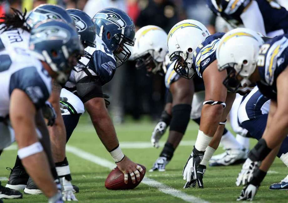 General view of the line of scrimmage of the San Diego Chargers vs. the Seattle Seahawks. Photo: Donald Miralle, Getty Images / 2011 Getty Images