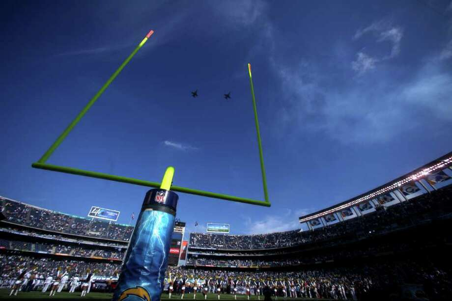 A general view of the national anthem flyover San Diego Chargers against the Seattle Seahawks during their  NFL preseason game on August 11, 2011 at Qualcomm Stadium in San Diego, California. Photo: Donald Miralle, Getty Images / 2011 Getty Images