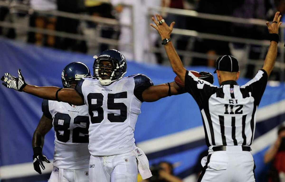 Anthony McCoy #85 of the Seattle Seahawks celebrates his touchdwon against the San Diego Chargers.