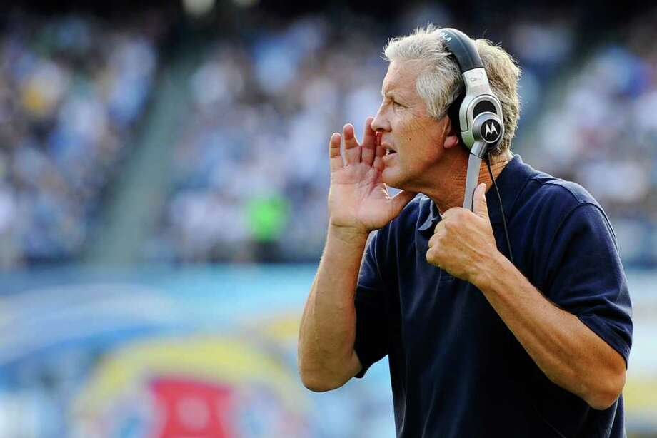 Head coach Pete Carroll of the Seattle Seahawks yells instruction during the NFL preseason game at Qualcomm Stadium against the San Diego Chargers on August 11, 2011 in San Diego, California. Photo: Kevork Djansezian, Getty Images / 2011 Getty Images