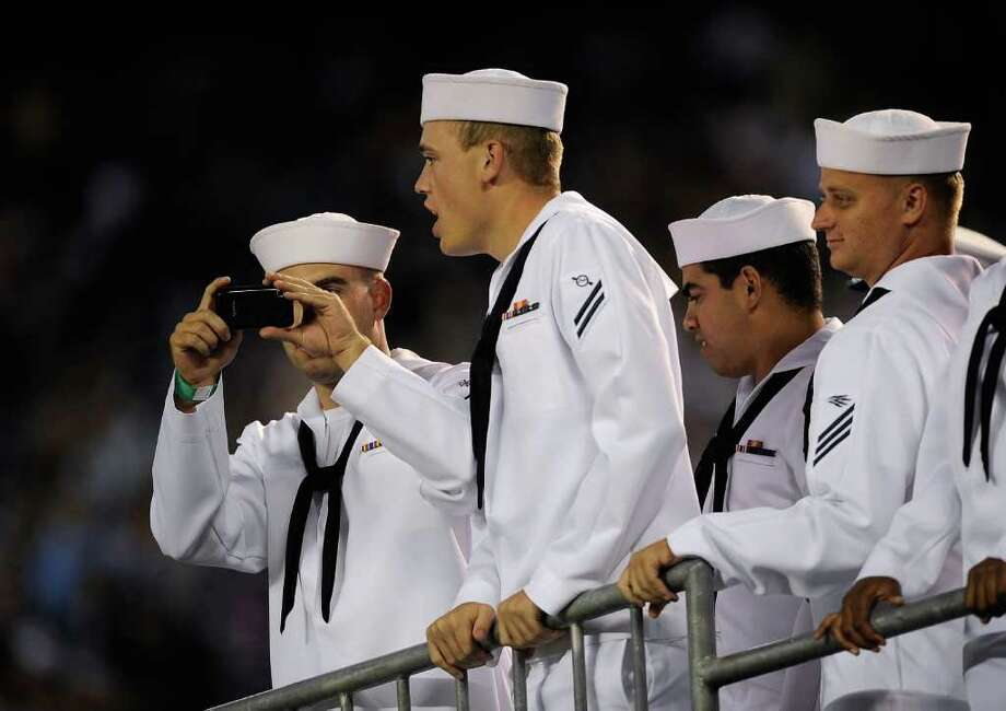 US Navy Midshipman attend the NFL preseason game between the Seattle Seahawks and San Diego Chargers at Qualcomm Stadium in San Diego on Thursday, Aug. 11, 2011. Photo: Kevork Djansezian, Getty Images / 2011 Getty Images