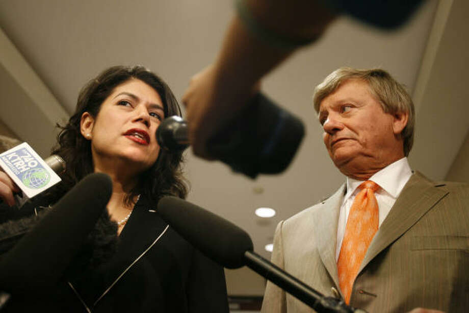 """""""I answered the questions and told the truth. That's what I was looking forward to doing,"""" said Councilwoman Carol Alvarado on Wednesday after leaving the grand jury room with lawyer Rusty Hardin. Photo: SHARÓN STEINMANN, Chronicle"""