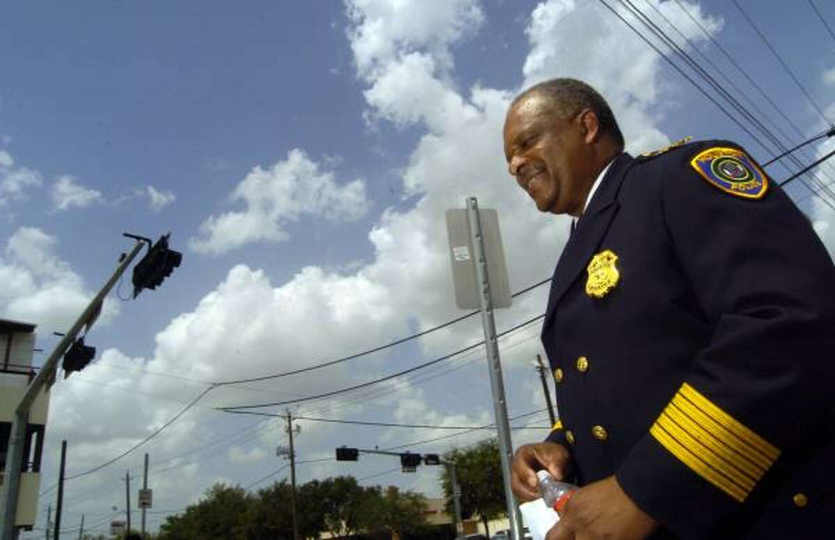 Police Chief Harold Hurtt, shown Monday at Milam and Elgin, said revenue generated by the program will be used to help pay overtime for police officers.