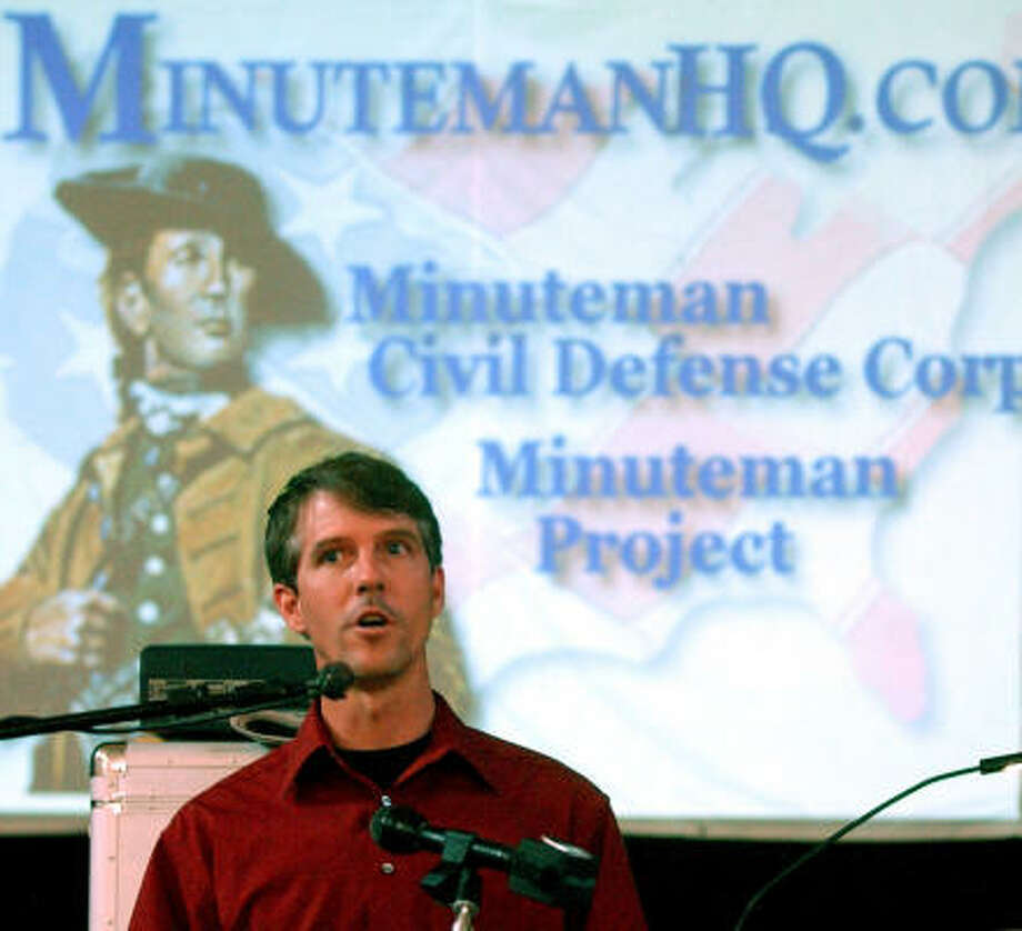 Chris Simcox, shown at a June 2005 meeting in Goliad, posted IRS forms and an audit on the Internet earlier this month in response to media reports raising concerns about Minuteman finances. Photo: EDWARD A. ORNELAS, SAN ANTONIO EXPRESS-NEWS
