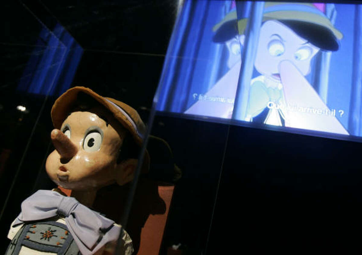 A Pinochio doll is part of Once Upon a Time, Walt Disney at Le Grand Palais in Paris. The exhibit shows how Disney animators took inspiration from European art.