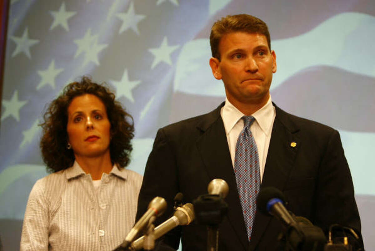 Sugar Land Mayor David Wallace, with wife Kathy, said state party officials told him the national party had pledged $3 million to the race if only one Republican write-in candidate ran.