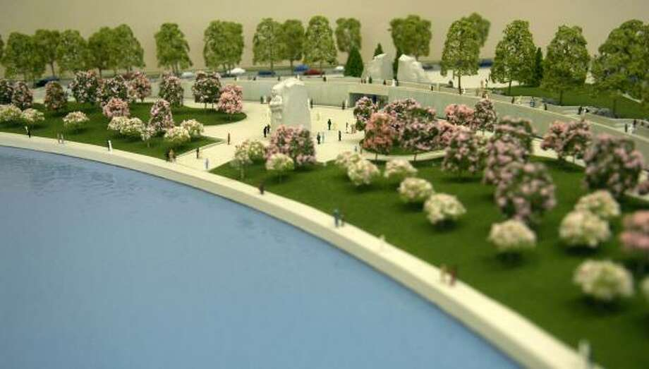 A model of the Martin Luther King Jr. National Memorial, which will be built along the Tidal Basin in Washington, D.C., on a direct line between the Jefferson and Lincoln memorials. Photo: KEVIN WOLF, AP