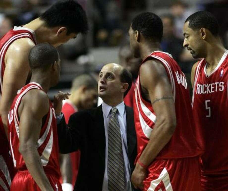 "Jeff Van Gundy (center) says he sees Vassilis Spanoulis as an ""undersized 2."" Photo: REBECCA COOK, REUTERS"