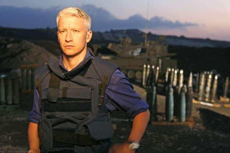 Anderson Cooper broadcasts his 360° live show from an artillery field near the city of Kiryat Shmona in northern Israel. Photo: Yoray Liberman, Getty Images For CNN