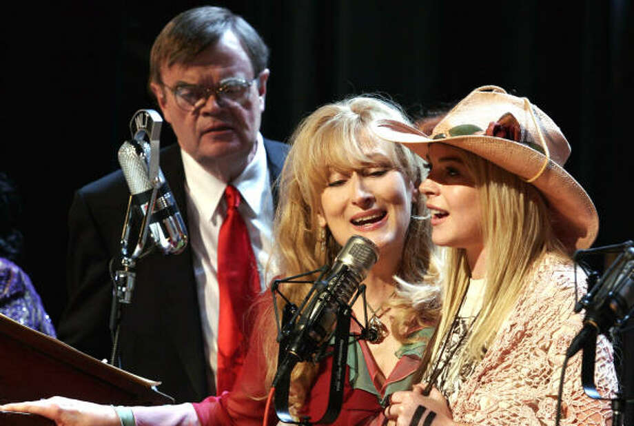 "Garrison Keillor, Meryl Streep, center, and Lindsay Lohan in a scene from A Prairie Home Companion. ""You're just hoping not to make an utter fool of yourself,"" Keillor said of his film debut. Photo: Picturehouse"