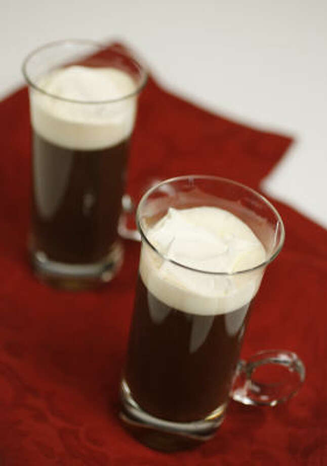 Irish CoffeeThis recipe is extremely easy. All you need is coffee, whisky, sugar and cream. That's it. It's a simple drink that will have your guest asking for more. It is the perfect drink for any cold day (or warm day for that matter). Photo: Mayra Beltran, Chronicle