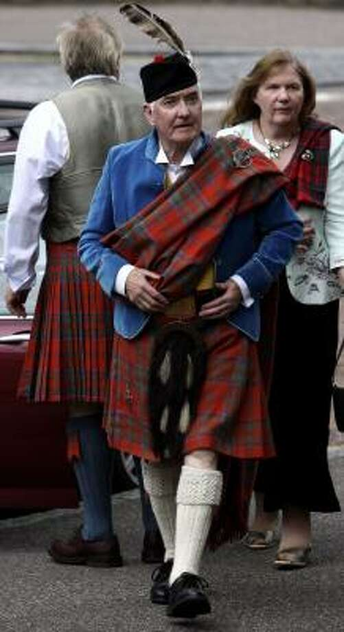 Ranald MacDonald, 75, arrives for his installation as chief of the Clan MacDonald. Photo: Jeff J Mitchell, Getty Images