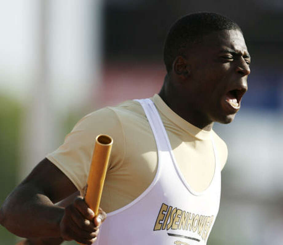 The first-place finishes came fast and furious for Eisenhower's Brandon Myers at last month's state track and field meet in Austin. Photo: BILLY SMITH II, HOUSTON CHRONICLE