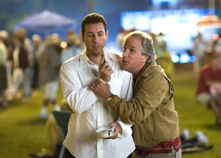 Adam Sandler, left, and Henry Winkler star in Click. Photo: Columbia Pictures