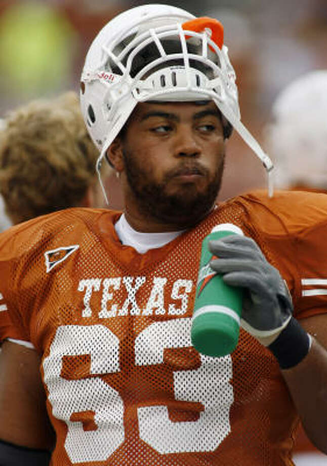 Lineman Justin Blalock has been a man of steel for UT. Photo: HARRY CABLUCK, AP