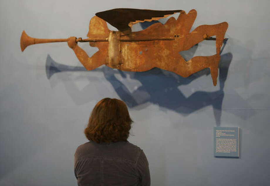 The Archangel Gabriel, a 6-foot-long weather vane made in 1822 and on display at the Shelburne Museum in Vermont, was recovered after being stolen from the White Church in Crown Point, N.Y. Photo: TOBY TALBOT, AP