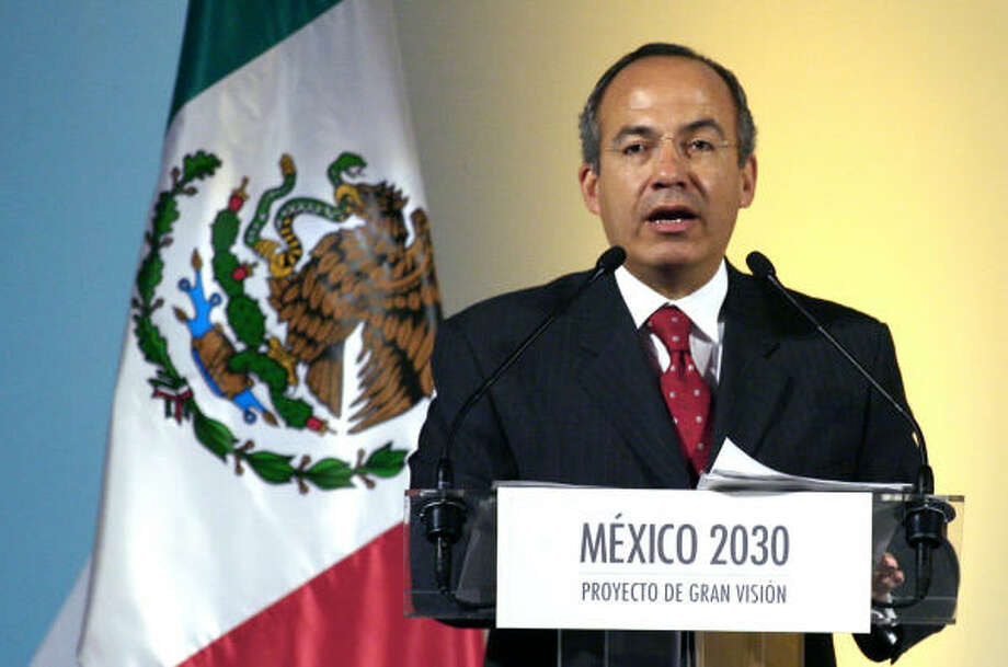 Mexican President elect Felipe Calderon delivers a speech Tuesday in Mexico City during which he launched the Mexico 2030 project, which aims to promote the planning of the public policies for the  next 24 years. Photo: OMAR TORRES, AFP/Getty Images