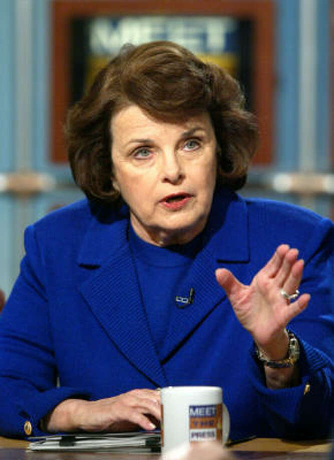 U.S. Sen. Dianne Feinstein, D-Calif., talks to reporters in 2002. Photo: ALEX WONG, AP