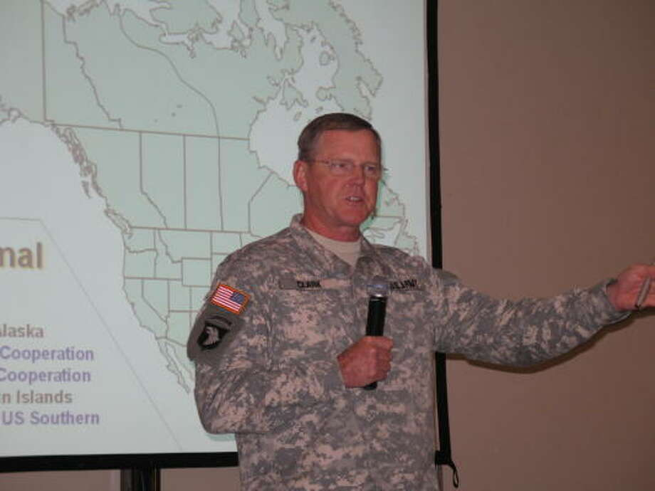 Lt. Gen. Robert Clark, commander of U.S. Army North Command at Fort Sam Houston, addresses disaster experts Tuesday in San Antonio. Photo: John W. Gonzalez, Chronicle