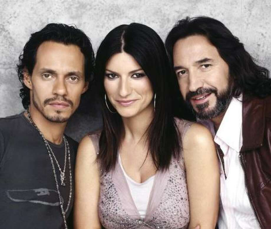Marc Anthony, left, Laura Pausini and Marco Antonio Solís will perform at Toyota Center at 7:30 p.m. Sunday. Photo: D. Baron Media