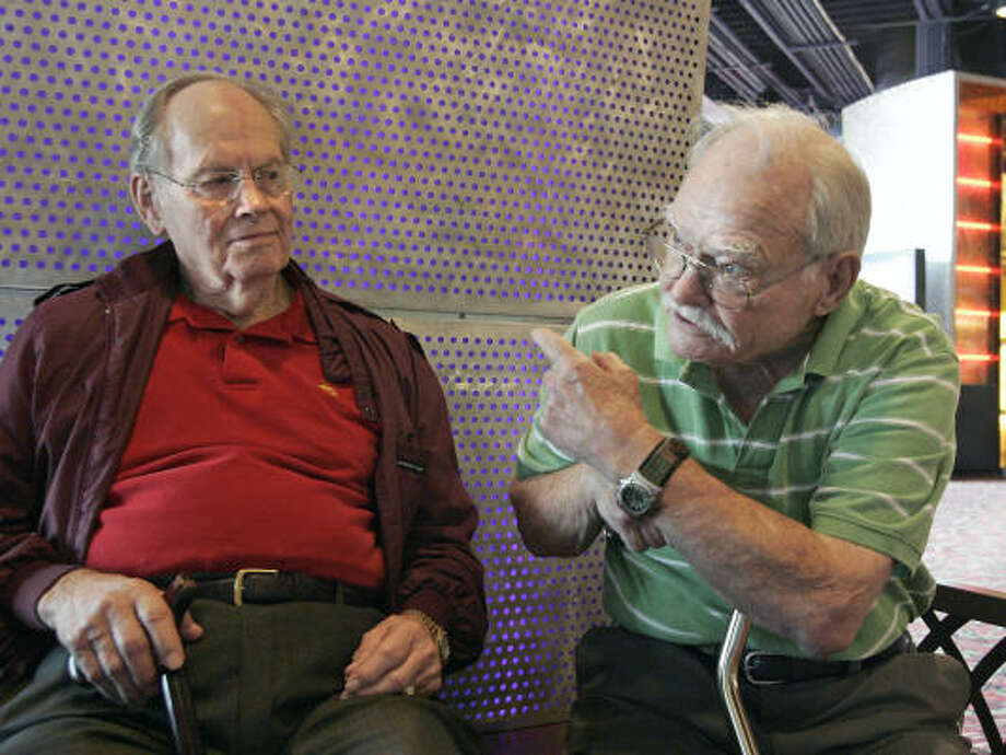 "Ken Whitfill, left, and John Wilson served with the Marines on Iwo Jima. ""I think the beach scenes, they were quite realistic,"" Whitfill said of Flags of Our Fathers, which he watched with Wilson on Friday in Houston. Photo: Craig Hartley, For The Chronicle"