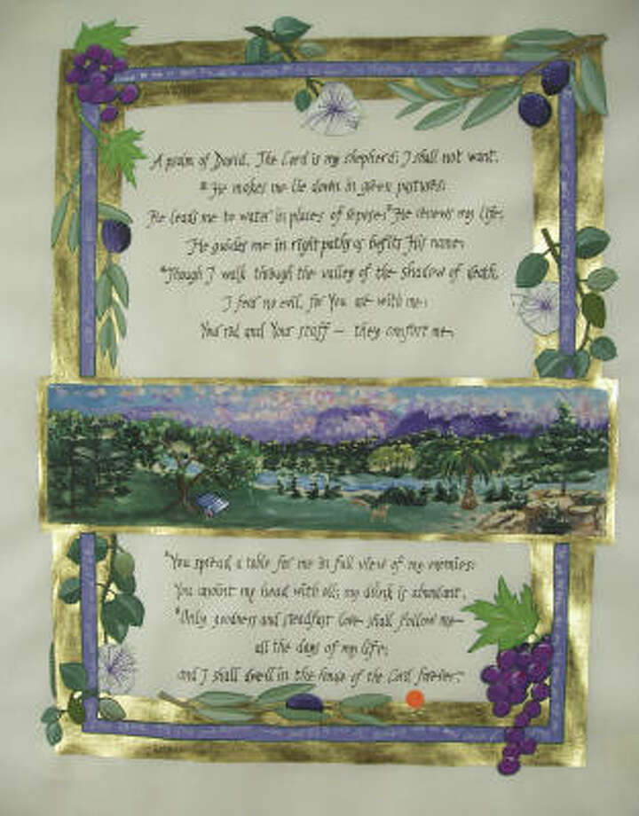 Bilingual illustrations of the 23rd Psalm from the manuscript I Will Wake the Dawn: Illuminated Psalms, by Debra Band and Arnold Band, will be a future JPS book. Photo: Jewish Publication Society