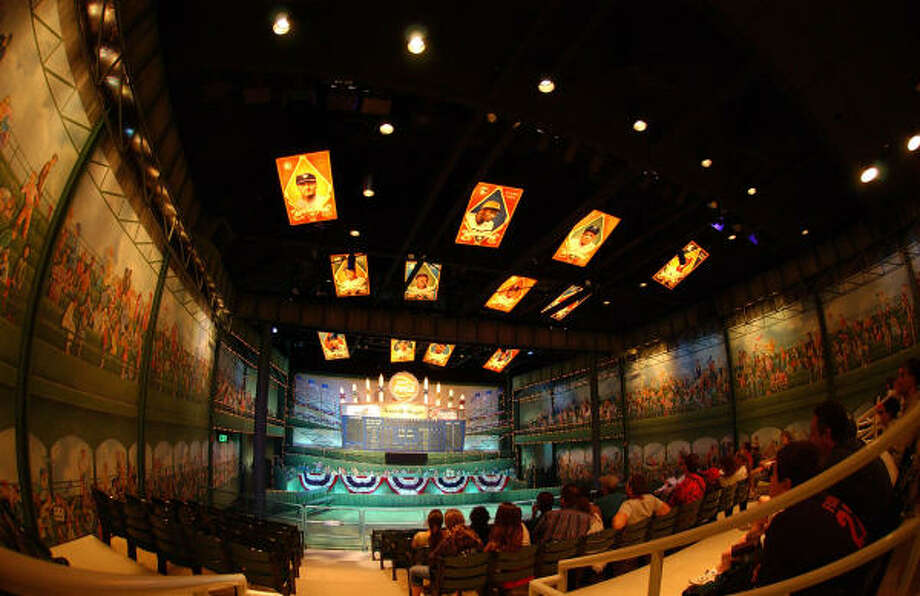 The Grandstand Theater, on the second floor of the National Baseball Hall of Fame and Museum in Cooperstown, N.Y., is a setting for multimedia presentations about the sport's traditions and heroes. Photo: MILO STEWART, National Baseball Hall Of Fame