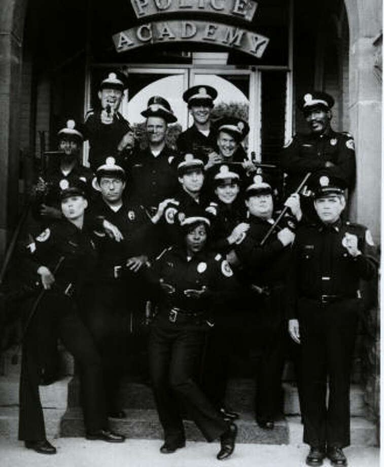 G.W. Bailey (front row, far right) played Capt. Thaddeus Harris in the old Police Academy movies Photo: Courtesy Photo