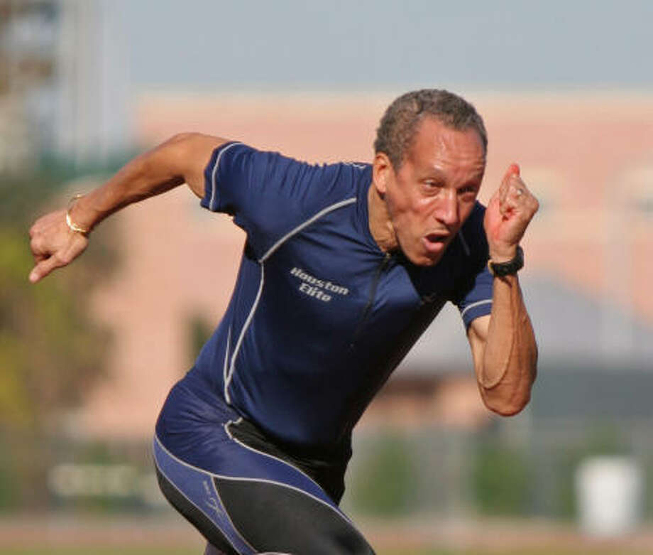 At an age many people are slowing down, Bill Collins, 56, is blazing new trails as a world-class masters sprinter. Photo: Gary Fountain, For The Chronicle