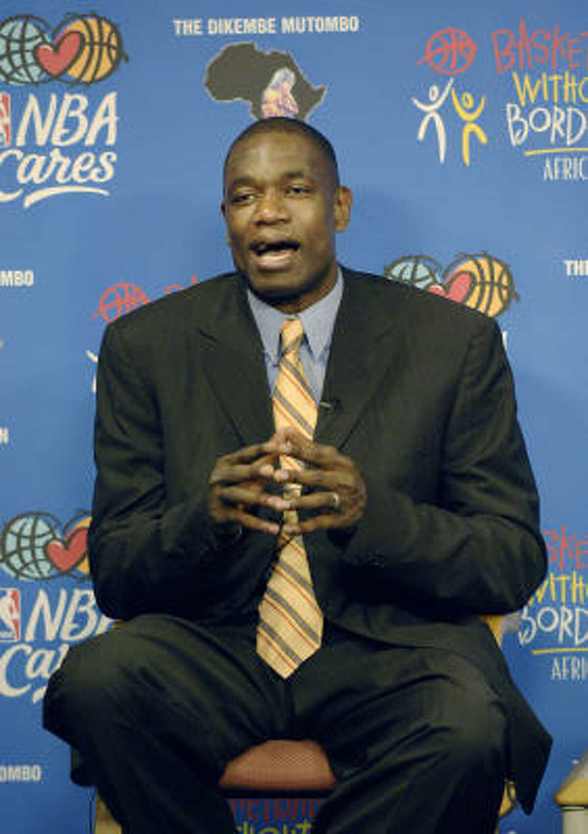 The Biamba Marie Mutombo Hospital and Research Center, named after Dikembe Mutumbo's mother, will open in September and has attracted support from the National Basketball Association (NBA) and NBA players. (Photo credit should read STAN HONDA/AFP/Getty Images)