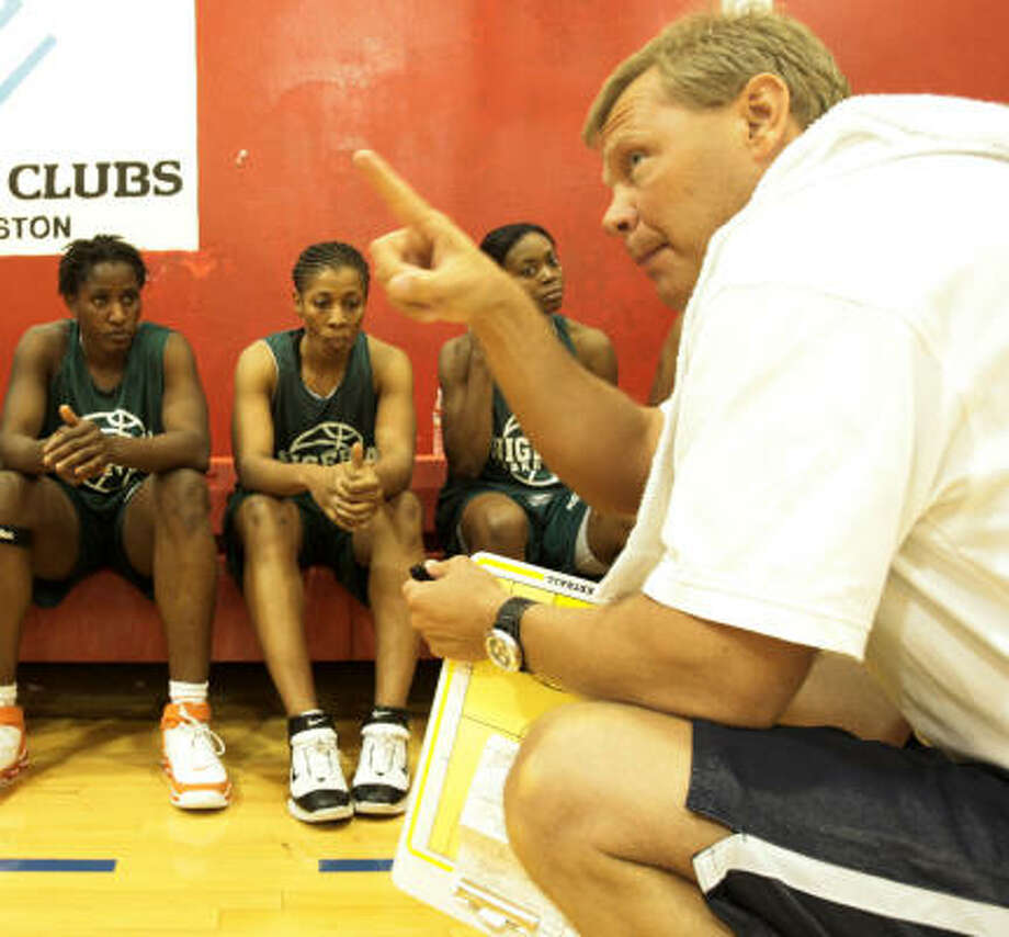 Nigeria coach Kevin Cook predicts the nation will stand one day among the powers in women's basketball. Photo: Billy Smith II, CHRONICLE