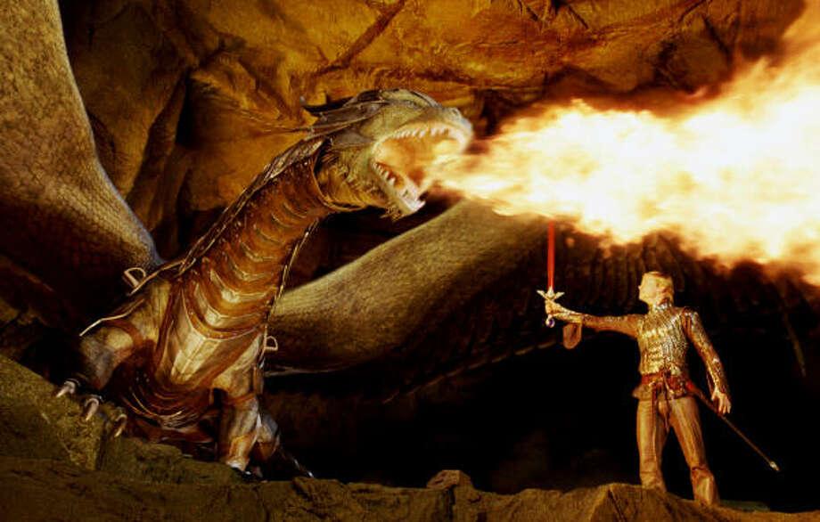 Dragon Rider Eragon (Ed Speleers) witnesses the full fire-breathing fury of Saphira, in Eragon. Photo: Weta