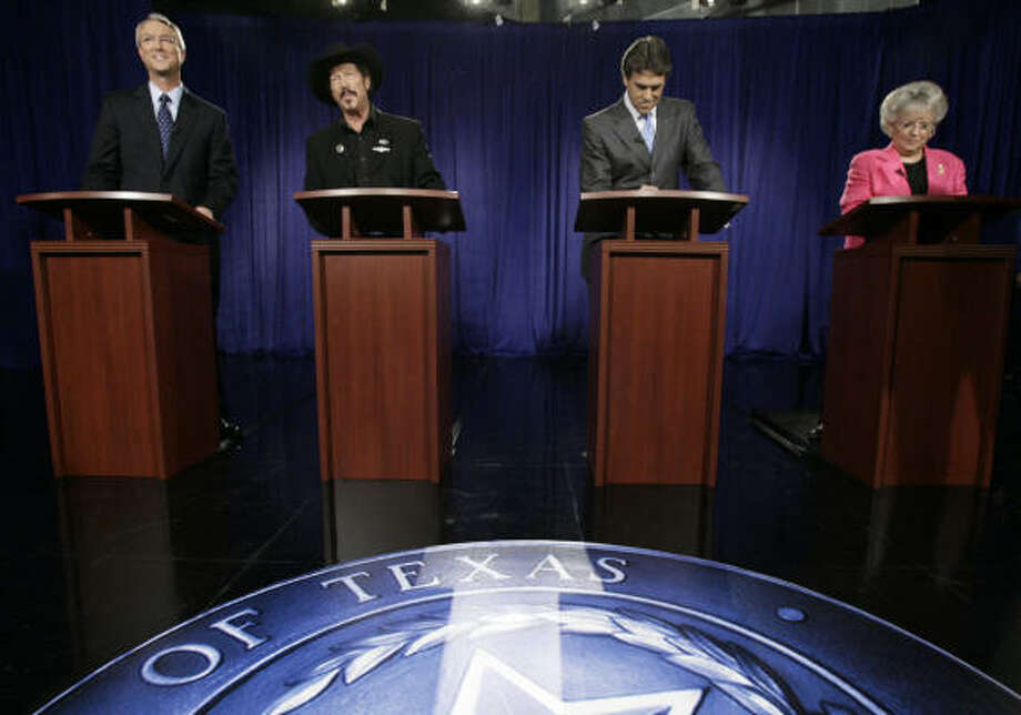 Gubernatorial candidates Chris Bell, Kinky Friedman, Gov. Rick Perry and Carole Keeton Strayhorn appear for their only debate. Perry leads the race with less than 40 percent of the vote. Photo:  SMILEY N. POOL, Chronicle
