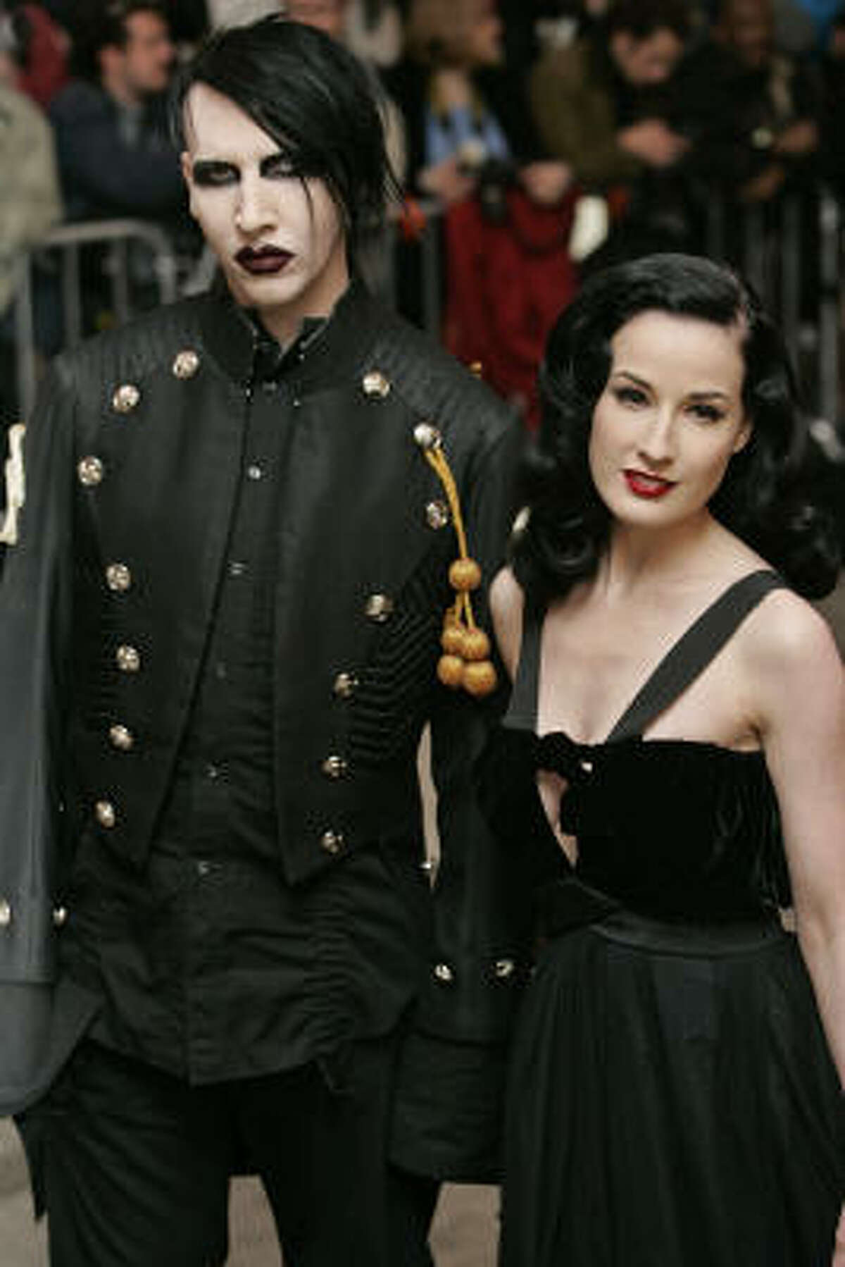 Marilyn Manson and Dita von Teese arrive at the Costume Institute Gala held at the Metropolitan Museum of Art in New York on May 2, 2005.