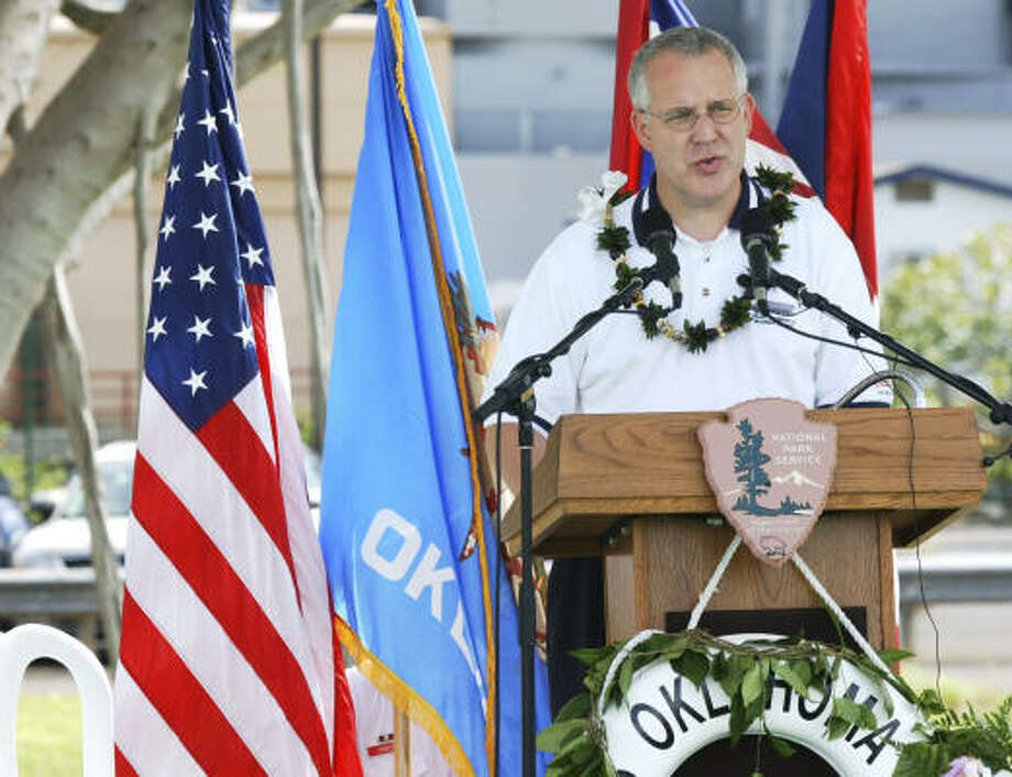 Oklahoma Gov. Brad Henry, speaks during the USS Oklahoma memorial dedication ceremony, in honor of the 66th anniversary of the attack on Pearl Harbor, in Honolulu Friday, Dec. 7, 2007. Photo: Ronen Zilberman, AP