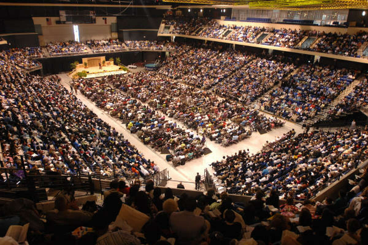 1. Jehovah's Witness Weekly or more: 85 percent Monthly or yearly: 11 percent Seldom to never: 3 percent Don't know or refused: 1 percent Pictured:A packed house at the Berry Center during the Annual Greater Houston area Jehovah's Witness Convention at the Berry Center in June.