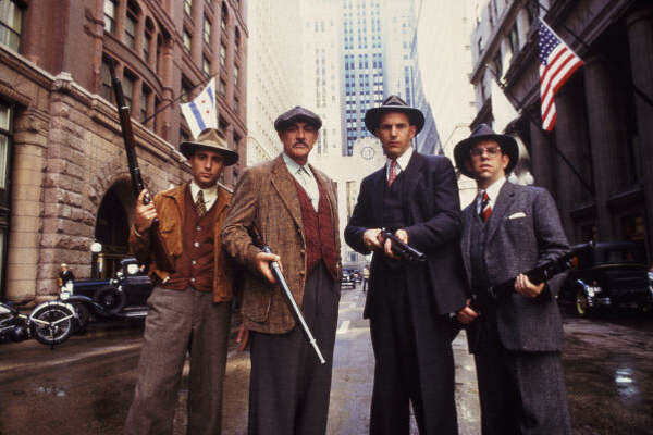 THE UNTOUCHABLES (1987): Kevin Costner and Sean Connery played G-men chasing Al Capone. It got personal after Connery's Irish flatfoot is killed in a hail of bullets.