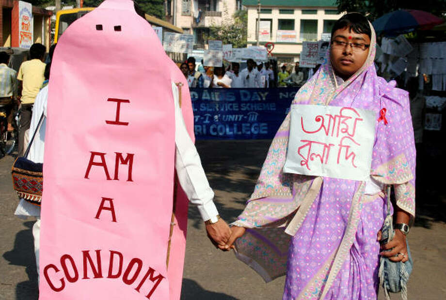 Condom man, or anything phallic for that matter should be a no-no.  Photo: DIPTENDU DUTTA, AFP/Getty Images