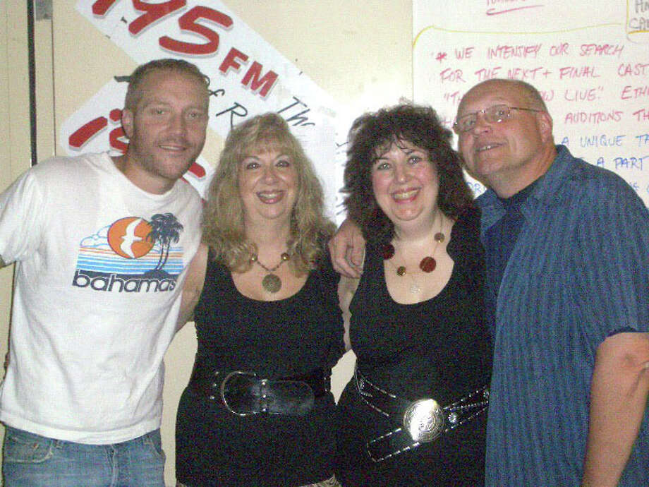 """Left to right are Lou Milano (co-host of the Ethan & Lou Morning Show on i95 radio), Sisters in Song (New Fairfield resident Maryann Simmons and Rita Schaffer, of South Salem, N.Y.), and Ethan Carey (co-host of the Ethan & Lou Morning Show).  The radio show announced Friday that Sisters in Song has won a spot on the touring cast of """"Gong Show Live."""" The decision was based on their audition tape, in which they perform the song """"Maneater"""" by Hall & Oates. Photo: Contributed Photo"""